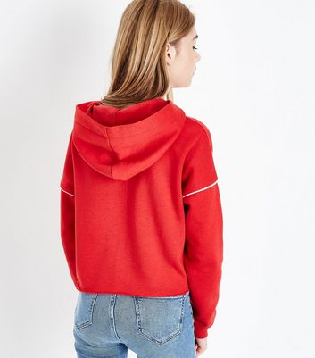 Red New York Logo Piped Sleeve Hoodie New Look