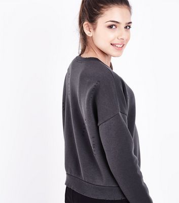 Teens Dark Grey Ripped Sweatshirt New Look