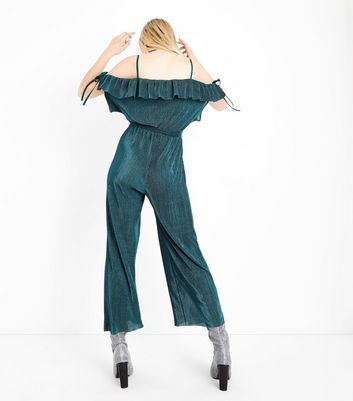 Cameo Rose Green Velvet Plisse Jumpsuit New Look