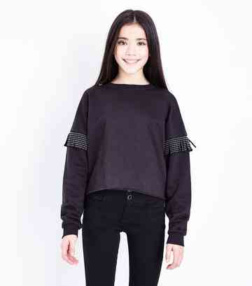 Girls Black Studded Tassel Crew Neck Sweatshirt