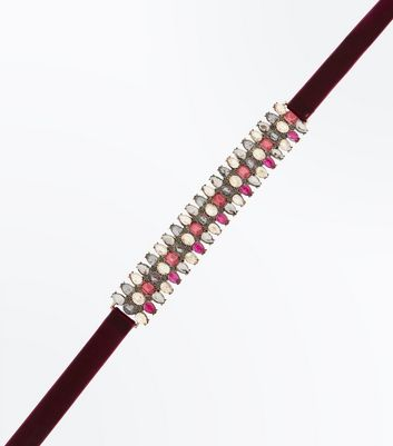 Multi Colour Gem Embellished Headband New Look