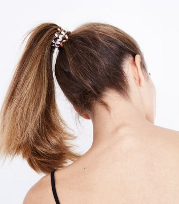 Brown And White Ombre Spiral Hair Bobbles Pack New Look