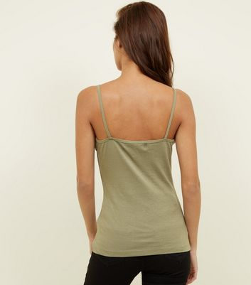 Olive Green Shoestring Strap Cami New Look