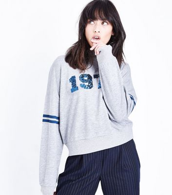Grey 1974 Sequin Sweatshirt New Look