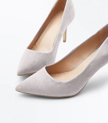 Grey Suedette Pointed Court Shoes New Look
