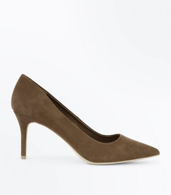 Khaki Suedette Pointed Court Shoes New Look