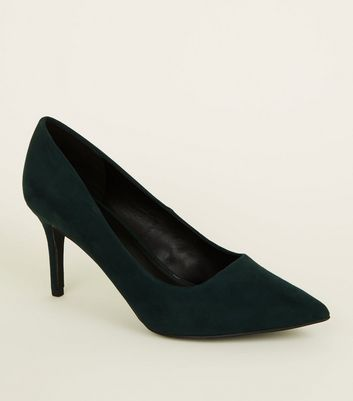 Dark Green Suedette Pointed Court Shoes