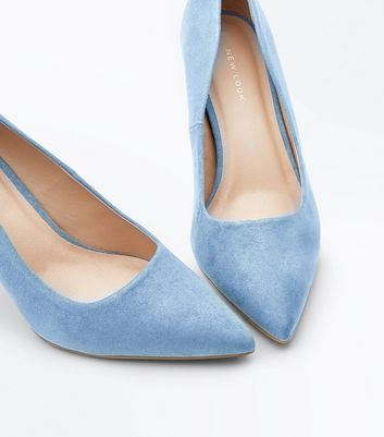 Pale Blue Suedette Pointed Court Shoes New Look