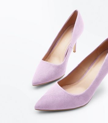 Lilac Suedette Pointed Court Shoes New Look