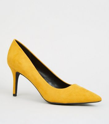 Mustard Suedette Pointed Court Shoes