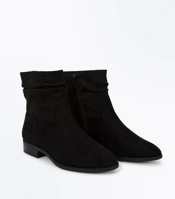 Wide Fit Black Suedette Slouch Calf Boots New Look