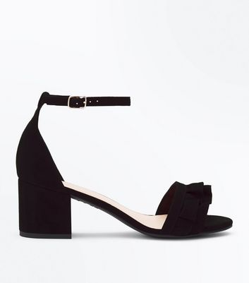 Wide Fit Black Frill Strap Low Block Heel Sandals New Look