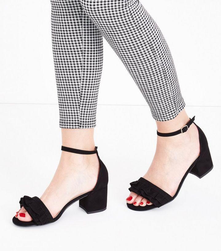 db14fcff449929 ... Wide Fit Black Frill Strap Low Block Heel Sandals. ×. ×. ×. Shop the  look