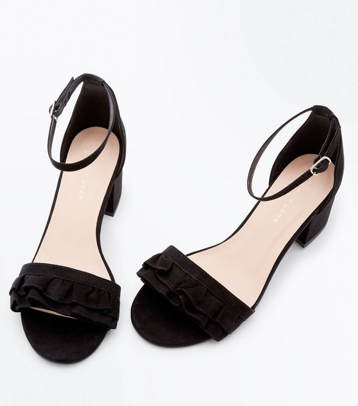 69d13326b30 ... Shoes · Wide Fit Black Frill Strap Low Block Heel Sandals. ×. ×. ×. Tap  image to zoom in. Shop the look