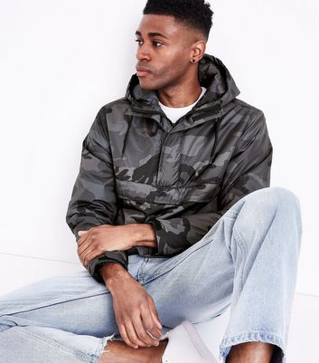 Dark Grey Camo Overhead Jacket New Look