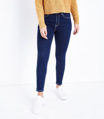 Petite Navy Contrast Stitch Skinny Jeans New Look