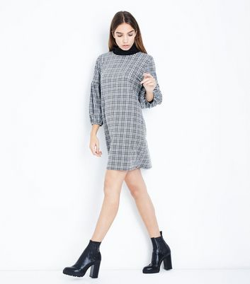 Grey Prince of Wales Check Balloon Sleeve Tunic Dress New Look