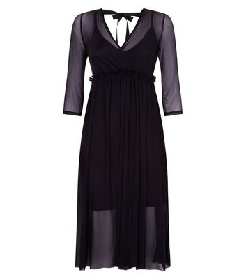 Black Mesh Ribbon Back Midi Dress New Look