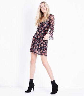 Black Floral Print Wrap Front Mesh Dress New Look