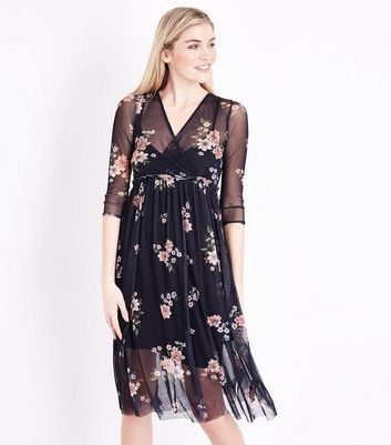Black Floral Print Mesh Wrap Front Midi Dress New Look