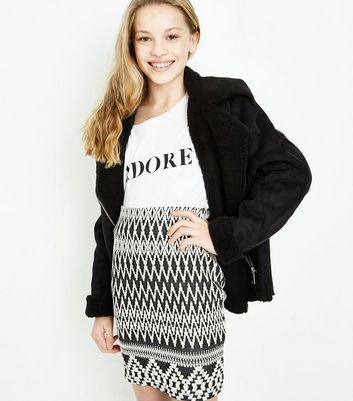Teens Black Aztec Jacquard Tube Skirt New Look