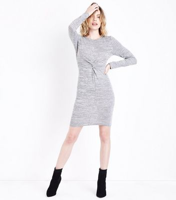 Grey Twist Front Tunic Dress New Look