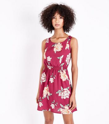 Deep Pink Floral Shirred Waist Mini Dress New Look