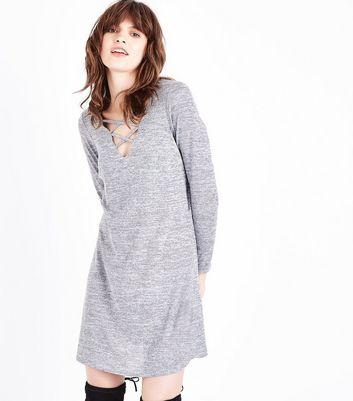 Grey Fine Knit Lattice Front Tunic Dress New Look
