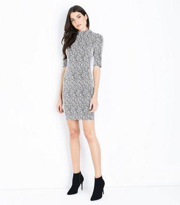 Black Marl Jacquard Jersey Bodycon Dress New Look