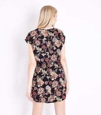 Black Floral Print Keyhole Front Dress New Look