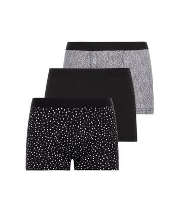 3 Pack Black and White Geometric Print Trunks New Look