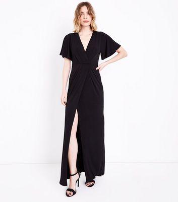 Black Flutter Sleeve Wrap Front Maxi Dress New Look