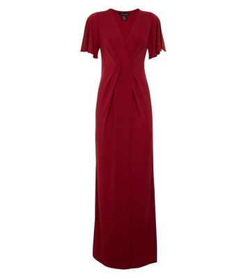 Dark Red Kimono Sleeve Maxi Dress New Look