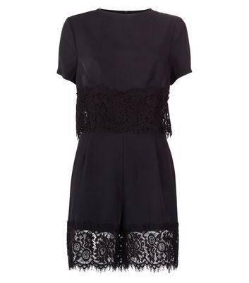 Black Layered Lace Trim Playsuit New Look