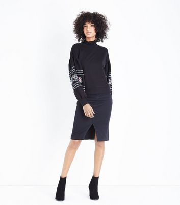 Black Embroidered Balloon Sleeve Sweatshirt New Look