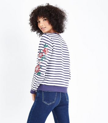 White Stripe Floral Embroidered Sweatshirt New Look