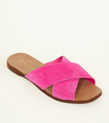 Wide Fit Bright Pink Suede Cross Strap Sliders