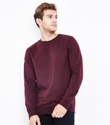 Burgundy Crew Neck Sweatshirt New Look