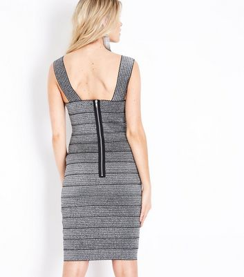 Silver Metallic Bodycon Bandage Dress New Look