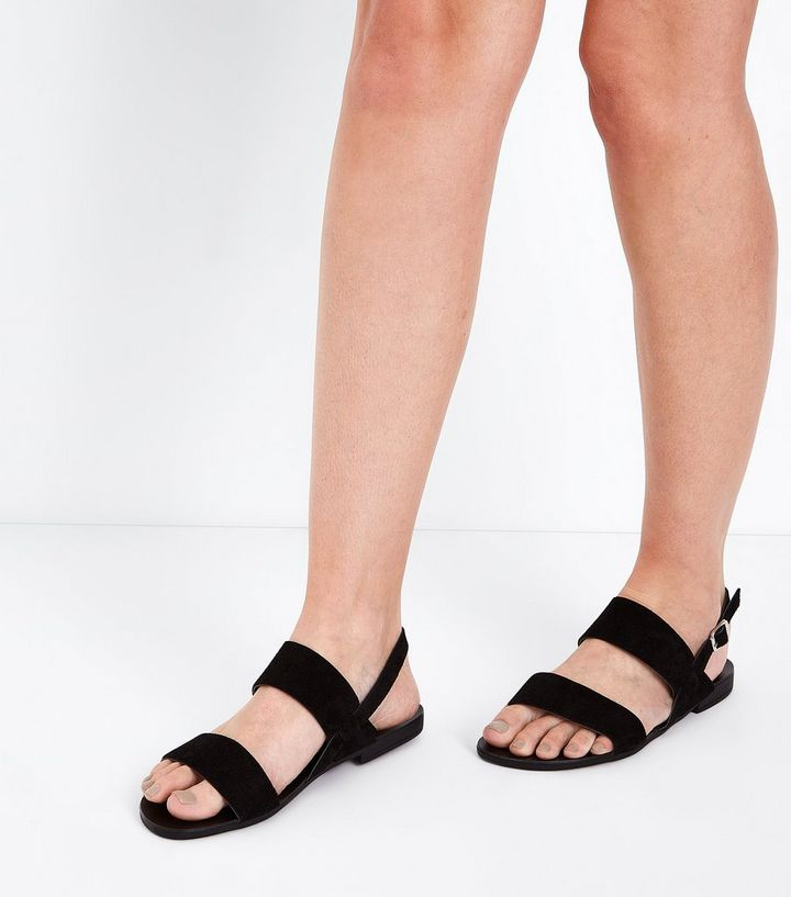 3a28ca634f5 ... Wide Fit Black Suede Double Strap Sandals. ×. ×. ×. Shop the look