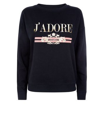Black J'Adore Metallic Print Sweatshirt New Look