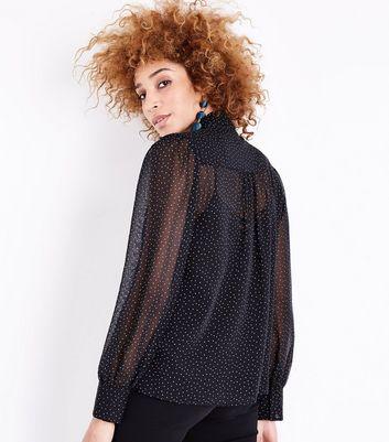 Black Spot Print Tie Neck Chiffon Blouse New Look