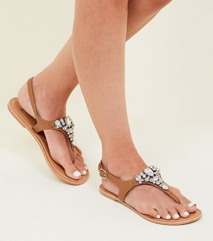 ca4c65893 ... Wide Fit Tan Leather Gem Strap Flat Sandals. ×. ×. ×. Shop the look