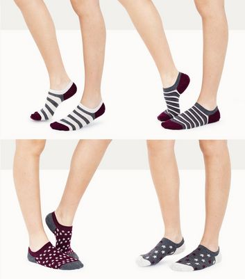 4 Pack Purple Star and Stripe Pattern Ankle Socks New Look