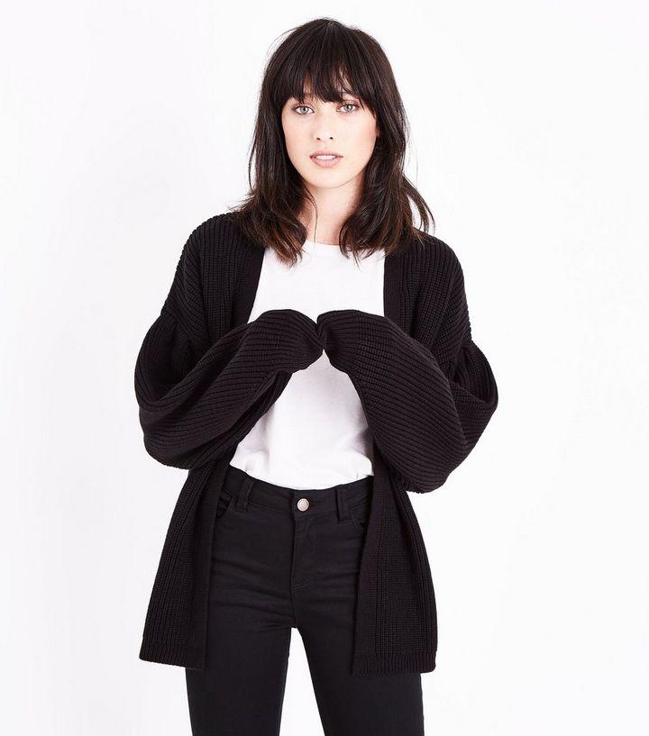 Black Balloon Sleeve Longline Cardigan   New Look e76554543c2f