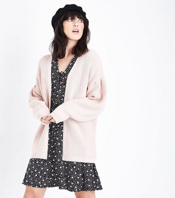 Pale Pink Balloon Sleeve Longline Cardigan New Look