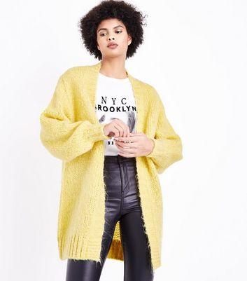 Yellow Balloon Sleeve Longline Cardigan New Look