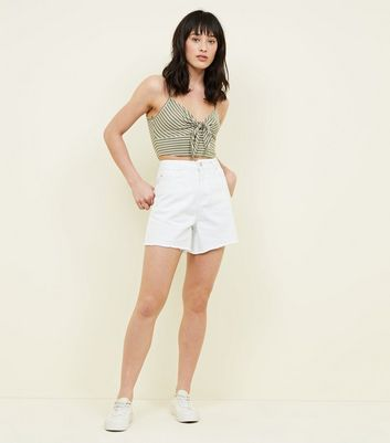 White High Waist Longer Line Denim Shorts