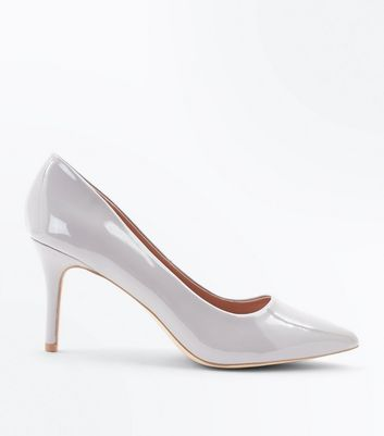 Gey Patent Pointed Court Shoes New Look