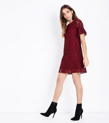 Cameo Rose Burgundy Lace Tunic Dress New Look